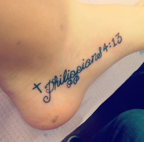 a08ecd71336f8 A unique placement for a scripture tattoo, but makes sense because each  step of each day should be a step further into one's own faith, whatever  they ...