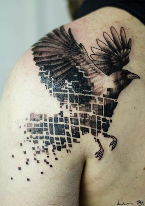 dcc74fa25 Here is another stylized raven tattoo, with a geometric/abstract element to  it.