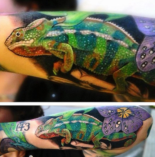 Amazing Colorful Chamilions: 20 Coolest Lizard Tattoos