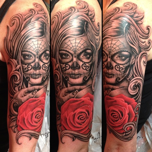 fa6d576d1df19 Here is a black and gray Dia de los Muertos portrait of a gorgeous woman  with sugar skull face painting.