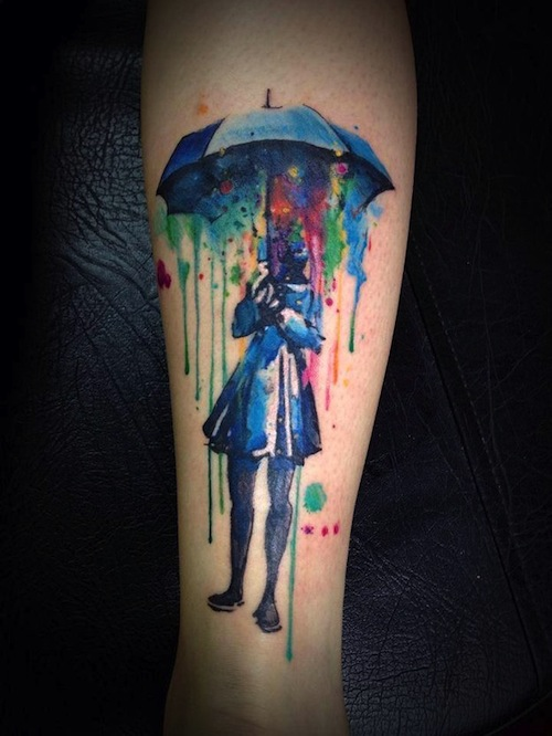 8a051f89b7828 This poor girl can't seem to escape the brightly colored watercolor rain. The  watercolors are pouring on her from inside of the umbrella.