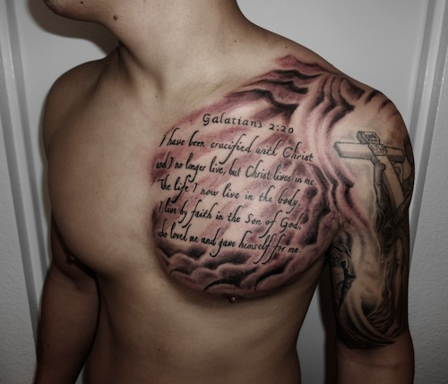 bc78c87029af2 A chest and half sleeve tattoo of this wearer's favorite verse along with  the iconography on the arm makes for an eye catching statement on his  belief.